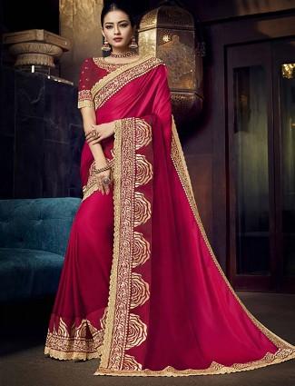 Beautiful magenta hue satin wedding saree
