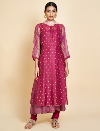 Beautiful magenta punjabi double layer salwar suit