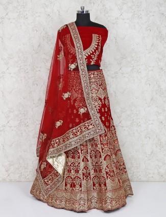 Beautiful maroon bridal semi stitched lehenga choli