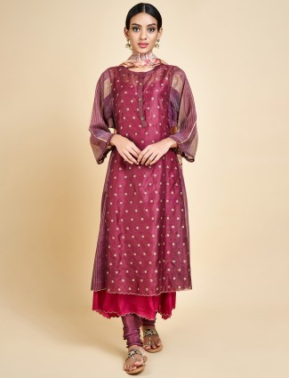 Beautiful maroon festive double layer salwar suit