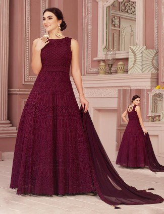 Beautiful maroon floor length anarkali salawr suit