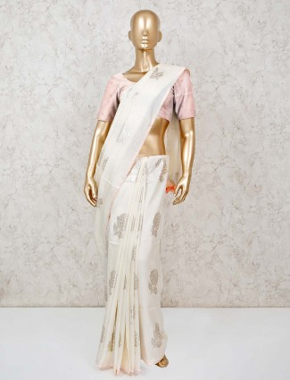 Beautiful off white dola silk saree