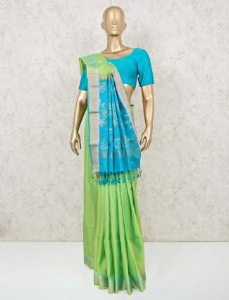 Beautiful parrot green south silk saree