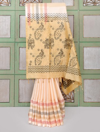 Beautiful peach color silk fabric saree