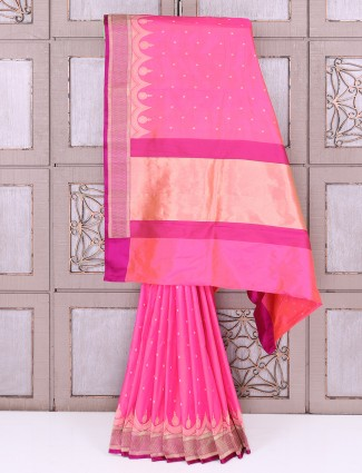 Beautiful Pink color silk fabric saree