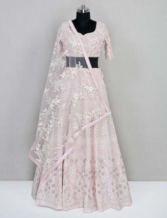 Beautiful pink georgette wedding wear lehenga choli