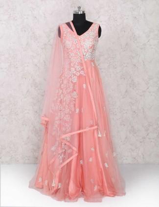 Beautiful pink wedding wear anarkali suit