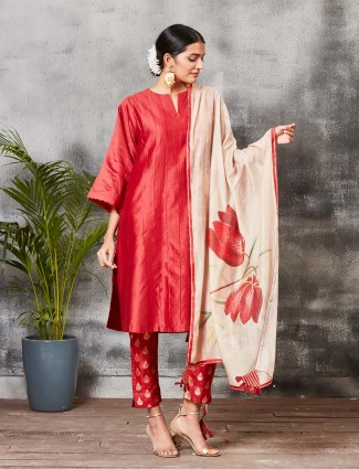 Beautiful red chanderi silk punjabi salwar suit
