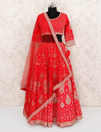 Beautiful red color bridal cotton silk lehenga choli