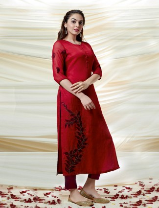 Beautiful red cotton silk kurti