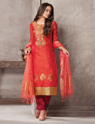 Beautiful red hue festive wear punjabi salwar suit