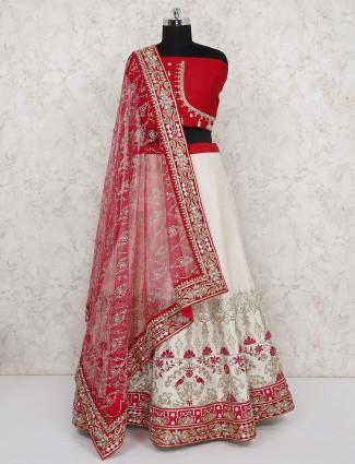 Beautiful red raw silk semi stitched lehenga choli
