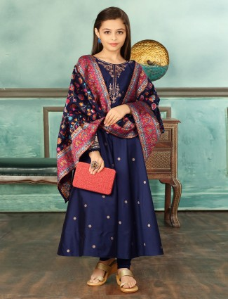 Beautiful royal blue party wear anarkali suit