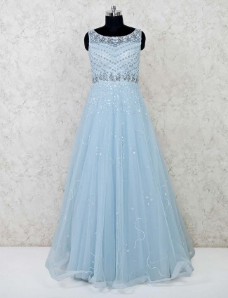 Beautiful sky blue floor length designer gown