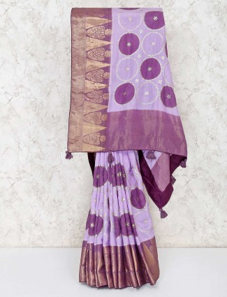 Beautiful violet semi silk saree