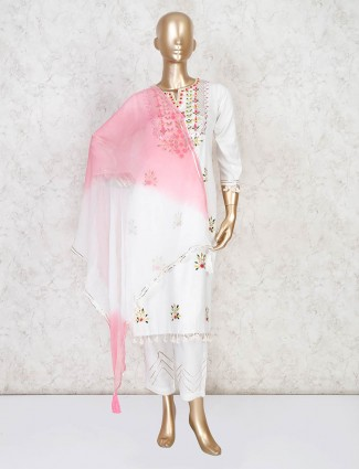 Beautiful white palazzo suit with shaded dupatta