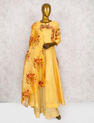Beautiful yellow color cotton silk punjabi suit