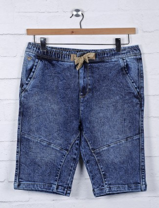Beevee blue color denim solid shorts