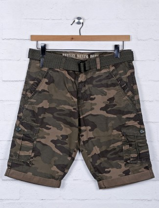 Beevee green printed mens shorts