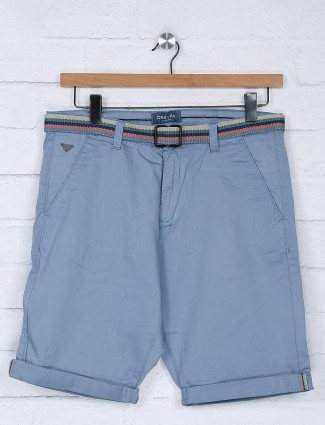 Beevee light blue solid cotton slim fit short