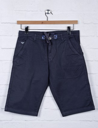 Beevee navy hue cotton slim fit shorts