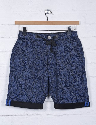 Beevee presented slim fit printed navy shorts