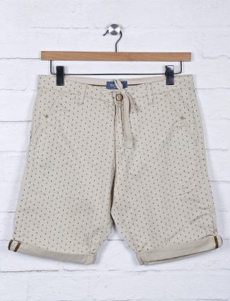Beevee printed cream cotton fabric shorts