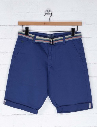 Beevee royal blue color solid cotton shorts