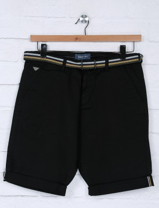 Beevee solid black color cotton fabric short