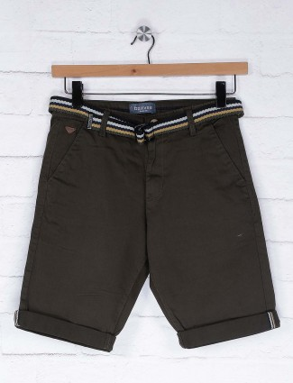 Beevee solid olive hue shorts