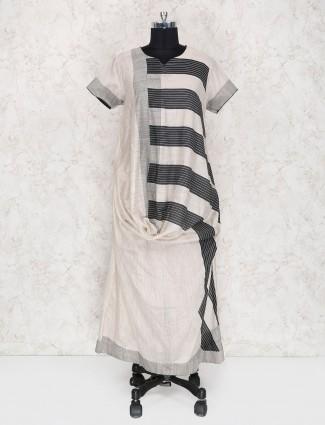 Beige and black cotton kurti