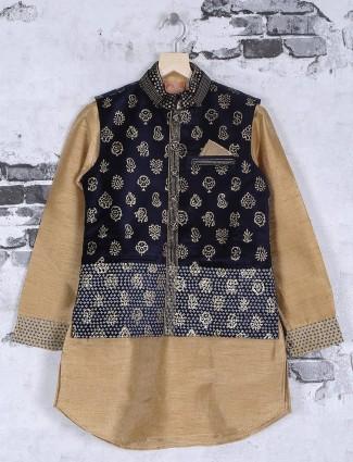Beige and black waistcoat set
