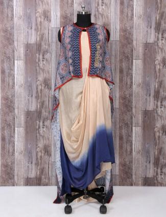Beige and blue color designer long kurti