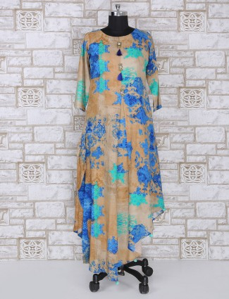 Beige and blue color long kurti