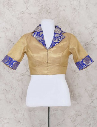 Beige and blue silk ready made blouse