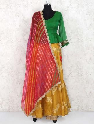 Beige and green jacquard silk peplum style lehenga choli