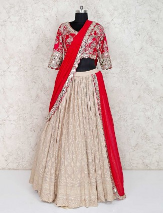 Beige and magenta cotton silk lehenga choli for wedding