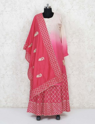 Beige and magenta lehenga suit with aabla work