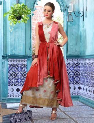 Beige and maroon cotton silk jacket style long kurti
