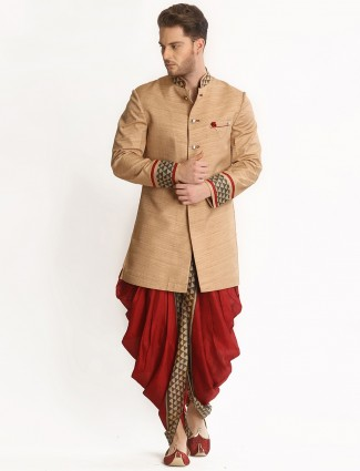 Beige and maroon wedding wear dhoti style indo wetsern.