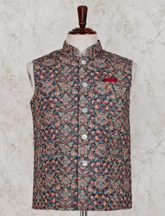 Beige and navy terry rayon printed waistcoat