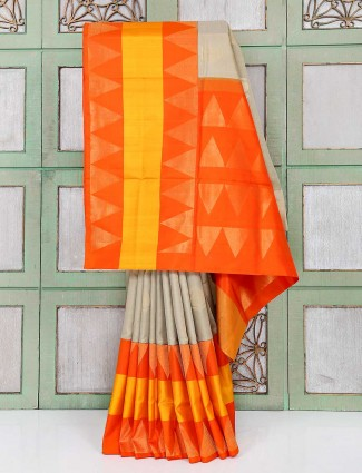 Beige and orange color wedding wear saree