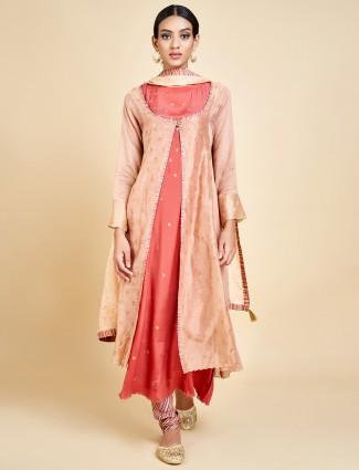 Beige and peach punjabi jacket style salwar suit