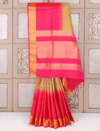 Beige and pink color silk festive saree