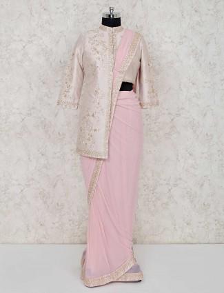 Beige and pink designer georgette ready to wear saree