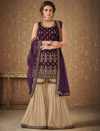 Beige and purple sharara suit in raw silk
