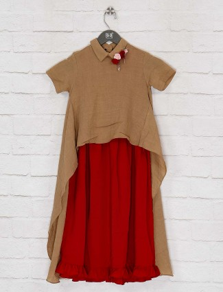 Beige and red double layer kurti in cotton for girls