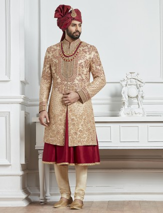 Beige and red raw silk groom indo western sherwani