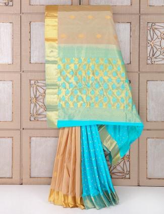 Beige and sky blue color silk saree