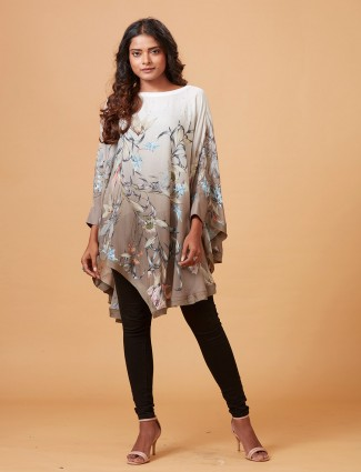 Beige and white shaded printed cape top